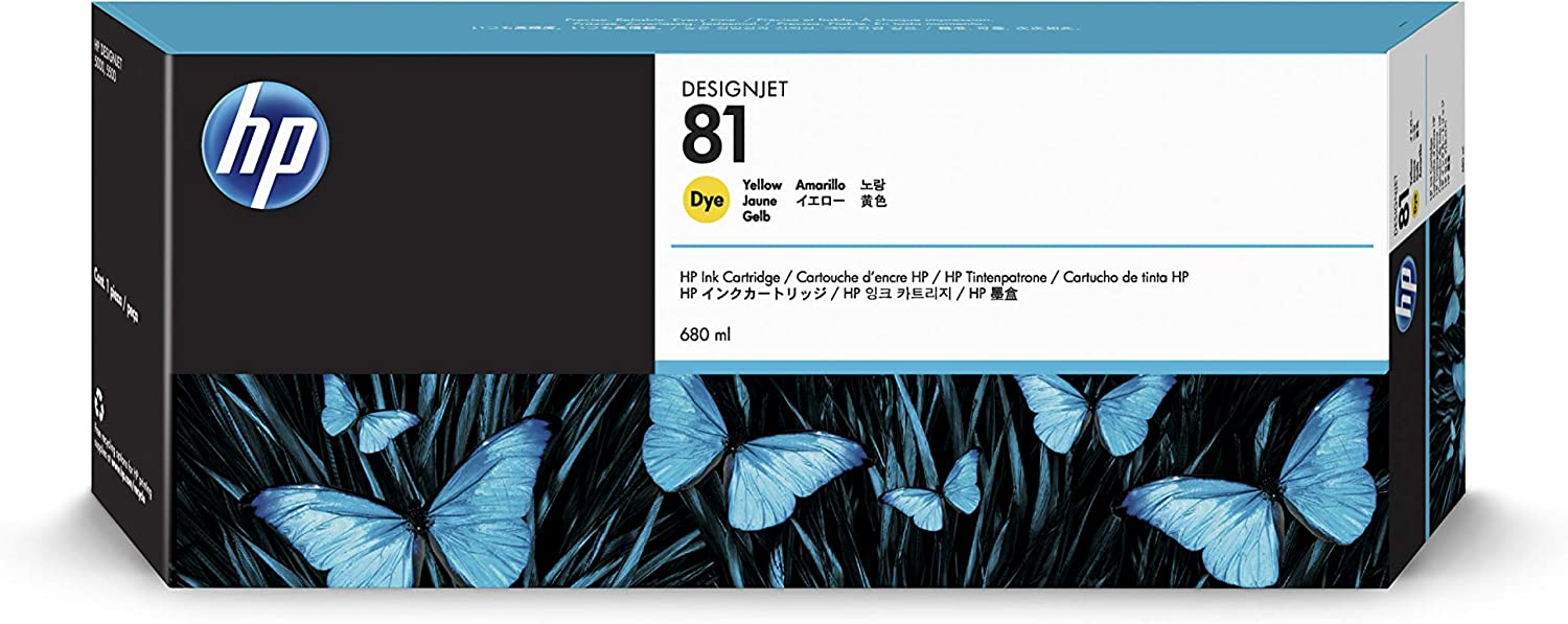 HP 81 C4933A Ink Cartridge for DesignJet 5000 series, 680ml, Yellow
