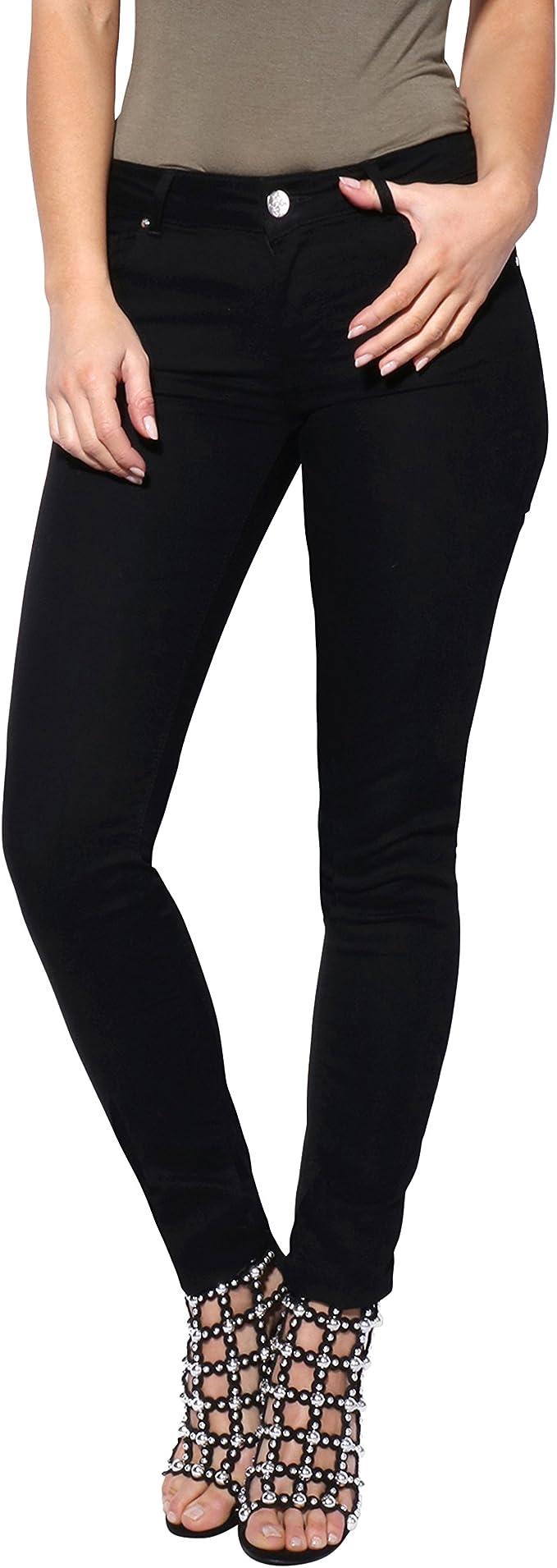 KRISP Womens Fitted Slim Ankle Zip Skinny Jeans Soft Denim Pants