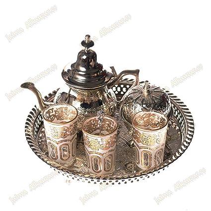 Árabe – Tetera de Juego de té – Tray patas – 3 vasos – Azucarero –