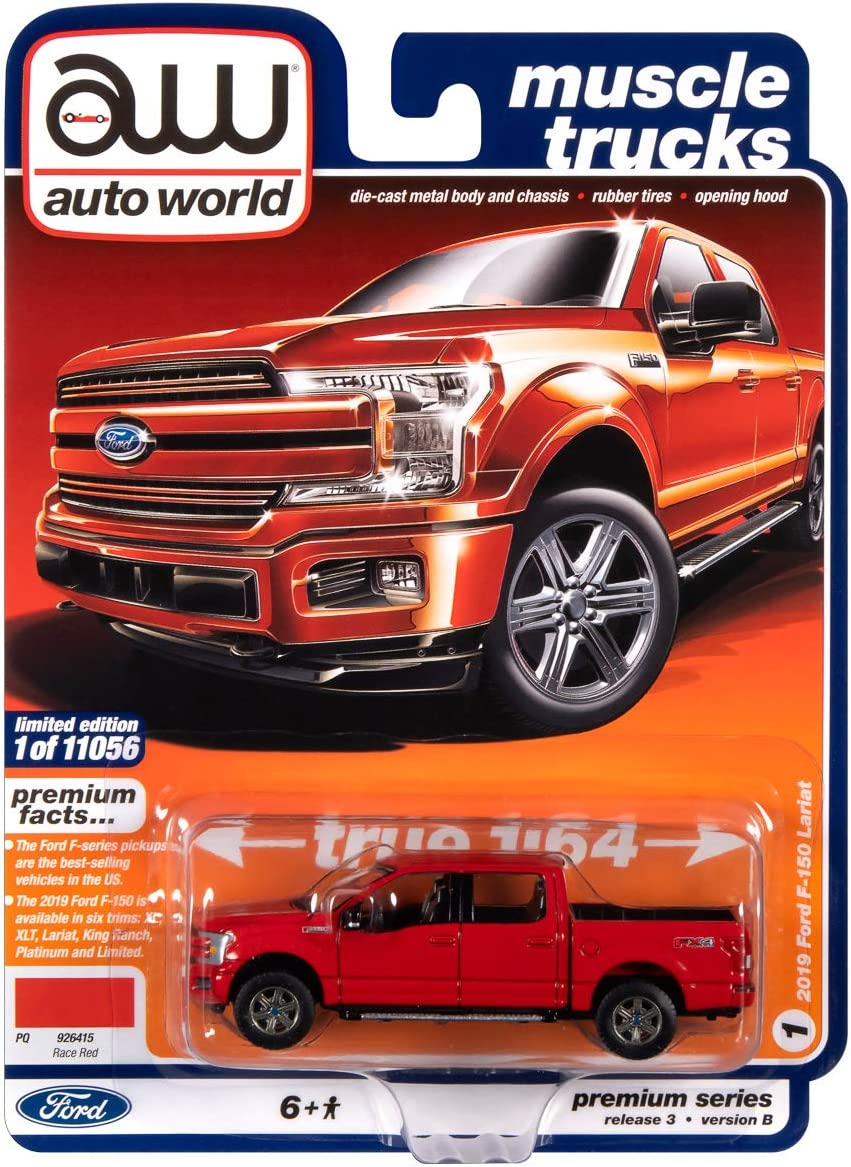 Autoworld 1/64 diecast Model of 2019 Ford F-150 Lariat Pickup Truck Race Red Muscle Trucks Limited Edition to 11056 Pieces Worldwide 64262-AWSP041 B