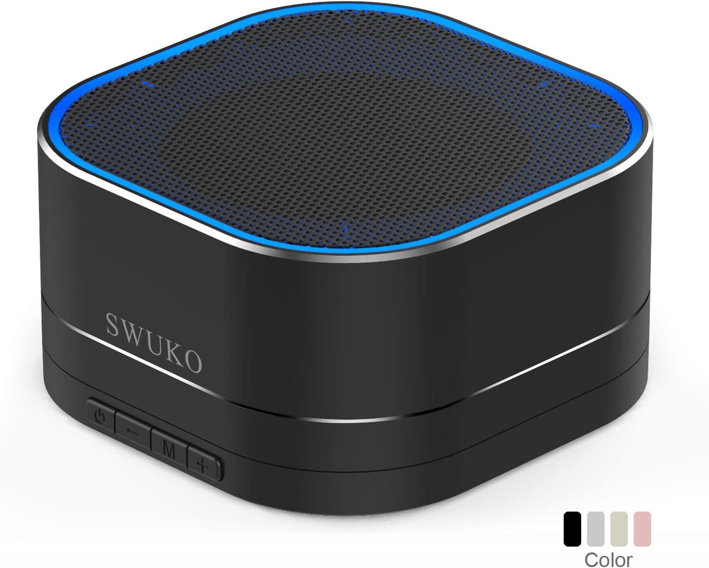 SWUKO Bluetooth Speaker with HD Sound and Bass, FM Radio, Handsfree, Premium Mini Bluetooth Speakers Portable Wireless for iPhone iPad Samsung PC Laptop Table Outdoor Travel Gift Ideas - Black