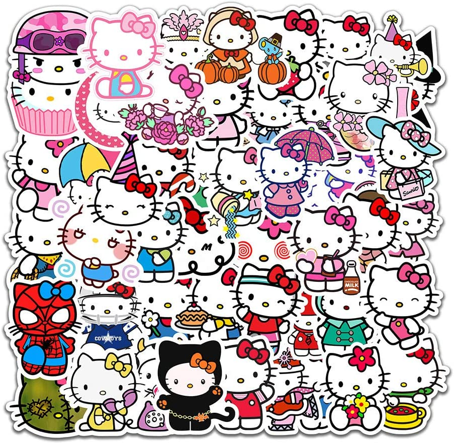 50Pcs Lovely Cute Hello Kitty Waterproof Stickers for Water Bottle Cup Laptop Bike Skateboard Luggage Box Vinyl Graffiti Patches BRWJ