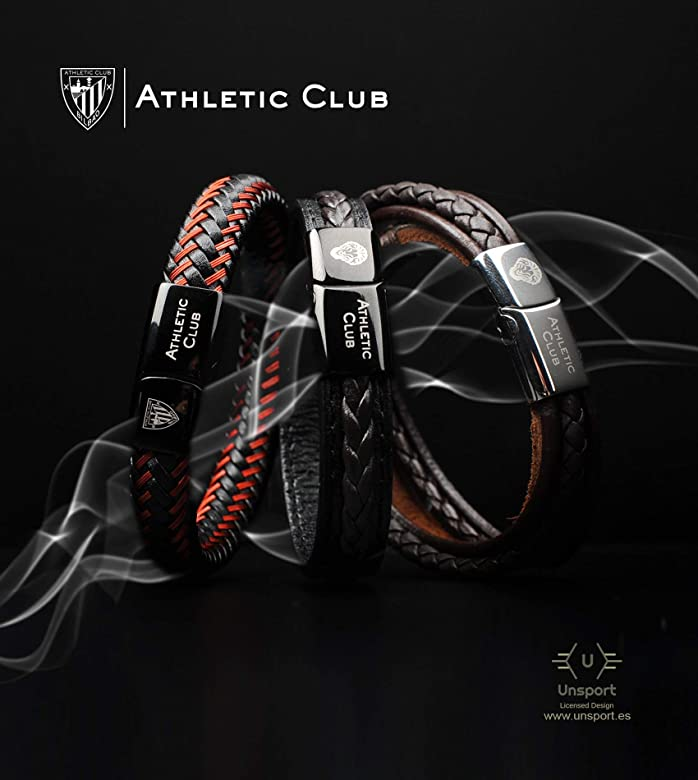 Athletic Club Bilbao Pulsera Oficial Piel Negra Trenza Doble con ...