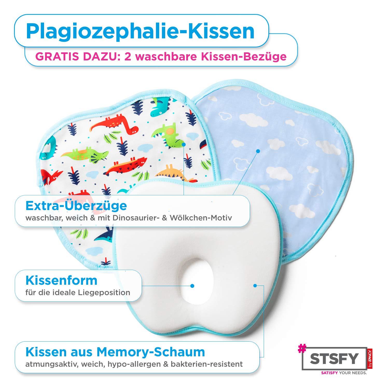100/% Schadstofffrei Blau 2 waschbare Kopfkissen Bez/üge GRATIS Plagiozephalie Babykopfkissen Baby Kissen gegen Plattkopf Sch/ädelverformung Kopfform Kopfverformung Orthop/ädisches Babykissen