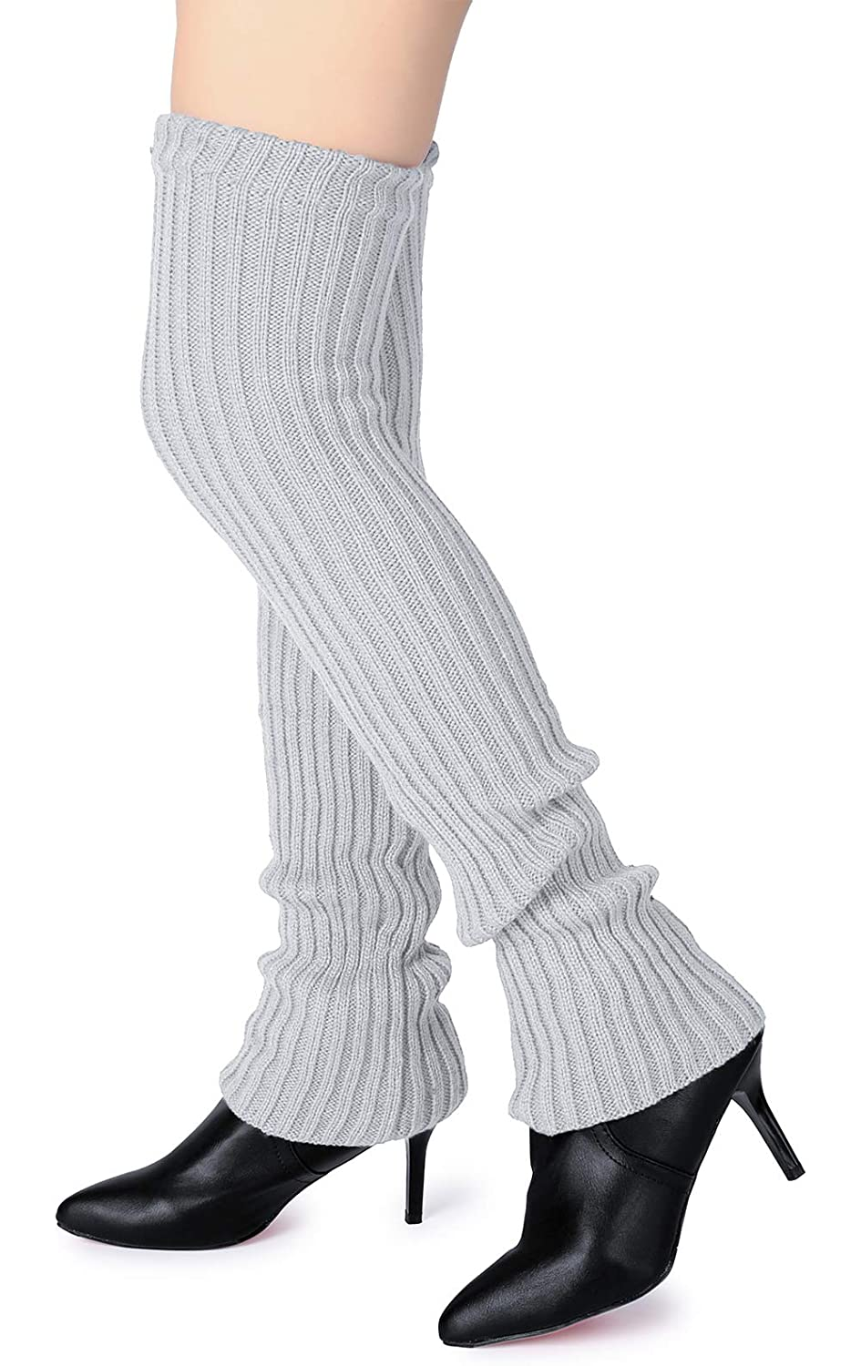 Pareberry Womens Winter Over Knee High Footless Socks Knit Warm Long Leg Warmers