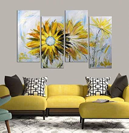 Amazon.com: ARTLAND Hand Painted 28x48-inch \'Yellow Daisy\' 4-piece ...