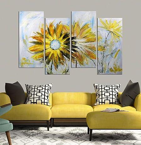 Amazon.com: ARTLAND Hand Painted 28x48-inch \'Yellow Daisy\' 4-piece ...