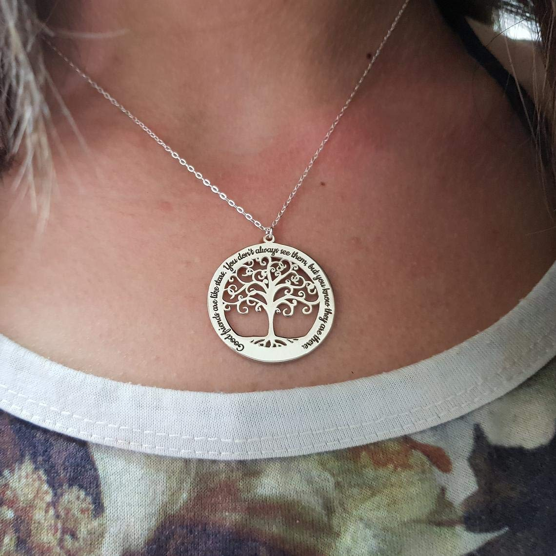 Wire Wrapped Tree of Life Necklace Family  CustomPersonalized  Moon Tree of Life Necklace,Blue Opalite Full Moon Tree of Life Pendant