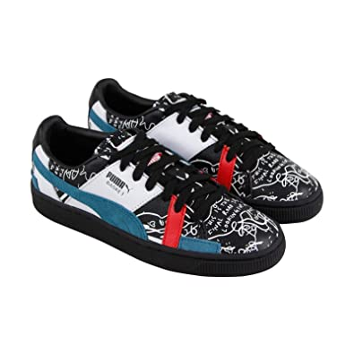 3234c9a1aca1 PUMA X Shantell Martin Basket Graphic Mens Black Leather Sneakers Shoes 4.5