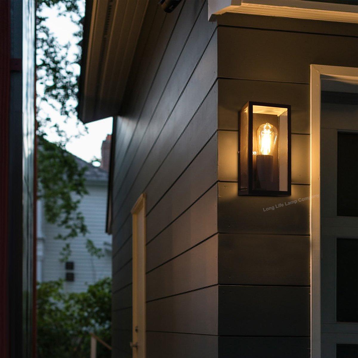 Moon Wall Light Remote Control : Rectangular Glass Outdoor Wall Light Black Metal Garden Wall Lamp ZLC084B eBay