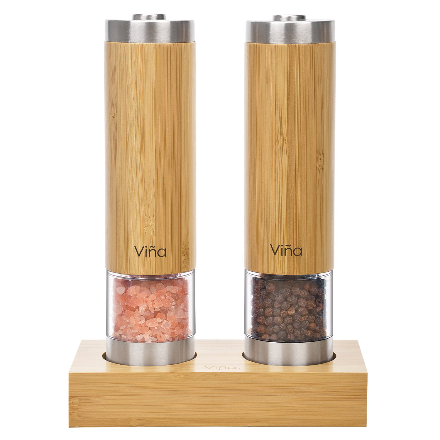 Vina Electric Automatic Salt and Pepper Grinder Set, Battery Operated, LED Light and Adjustable Ceramic, Stainless Steel and Bamboo Body Pepper Mill with Stand, Pack of 2