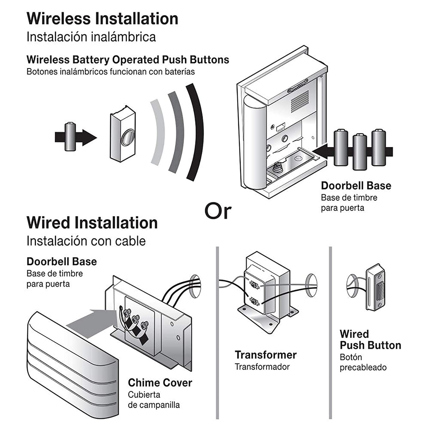 Brushed Nickel wireless / wired doorbell on