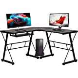 Computer Desk Gaming Desk Home Office Toughened Glass L Shaped Corner Writing Study Keyboard CPU Stand Girl Kids Student PC M