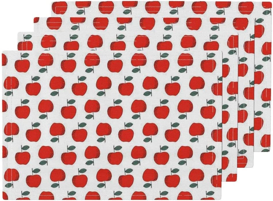 Apples Heat Resistant Placemat, Apples Apple Red Apple Kids Fruits Food Washable Kitchen Table Mats Placemats for Dining Table Set of 6