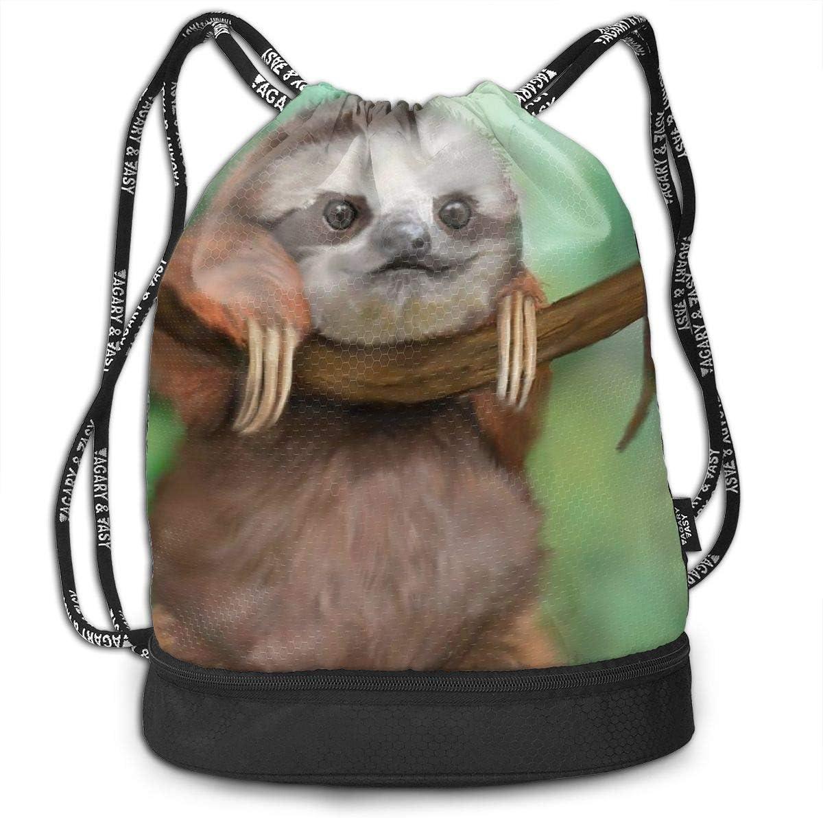 GymSack Drawstring Bag Sackpack Baby Sloth Sport Cinch Pack Simple Bundle Pocke Backpack For Men Women
