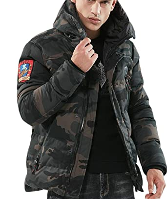 119e24ec1cc4 SYTX Mens Camo Print Hooded Stand Collar Quilted Winter Jacket Coat 1 XS