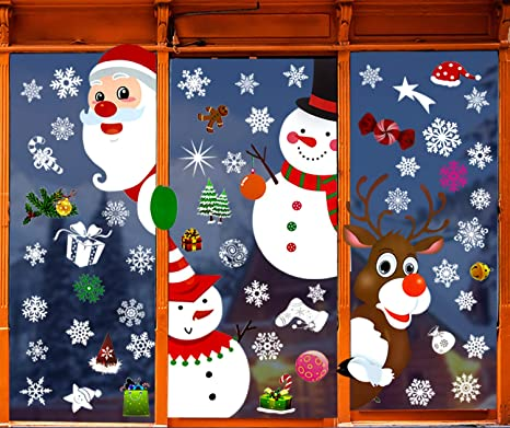 Christmas Window Stickers Wall Stickers,Snowflake Electrostatic Window Clings Reindeer Santa Claus Snowman Decals for Christmas Decorations C