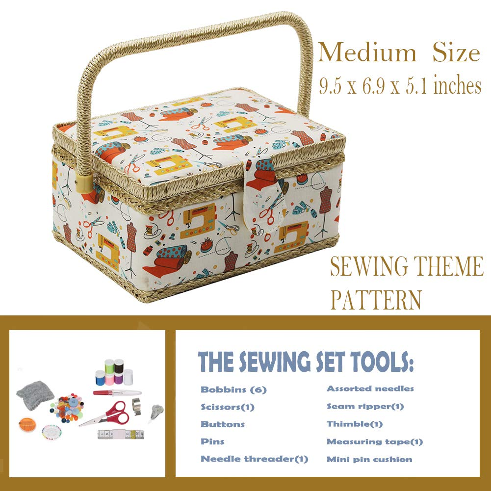 Blue Polka Dots Medium Sewing Box with Kit Accessories Sewing Basket Organizer with Supplies DIY Sewing Kits for Adults