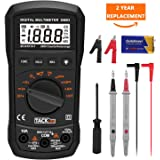 Digital Multimeter Tacklife Pocket DM03S Auto Ranging Multimeter AC / DC Voltage, Current, Frequency, Resistance, Capacitance, Diode, Continuity Test with Backlight, Screwdriver, Alligator Clip, Max