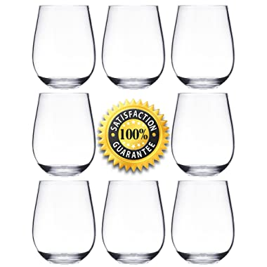 Plastic Wine Glasses - Set of 12 Red White Wine Stemless Glass - Unbreakable - Reusable - Shatterproof - 16oz 450ml - Glasses for Parties, Weddings, Camping - Better than Acrylic Glasses - NOTMOG