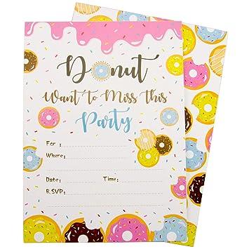 Amazon.com: Donut Invitaciones de fiesta con sobres para ...