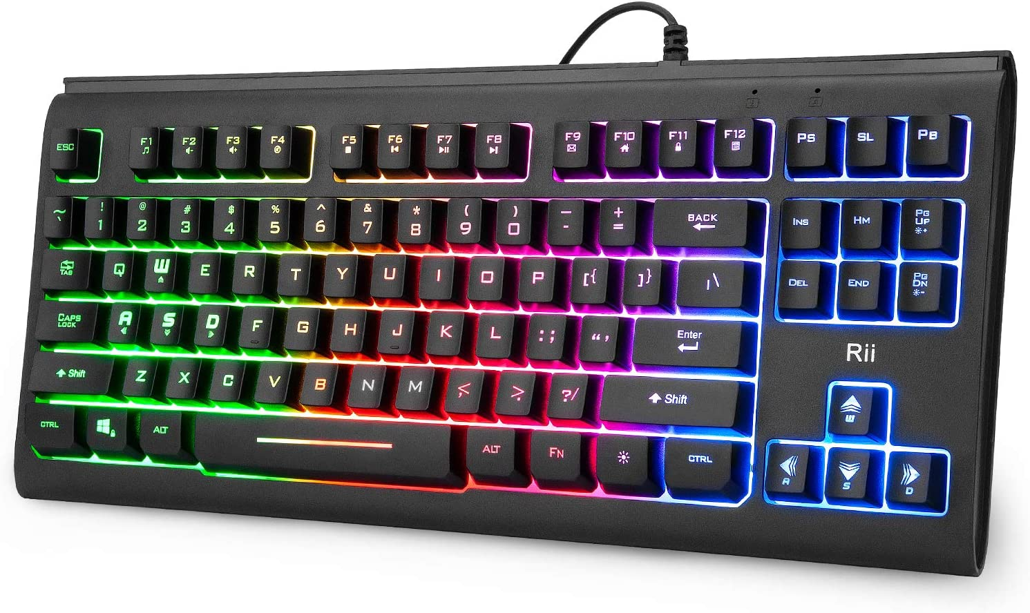 Rii Primer RGB Compact Gaming Office Keyboard RK104,Backlight Keyboard,Small 87 Keys No Number Pad Keyboard for Windows PC Laptop Desktop