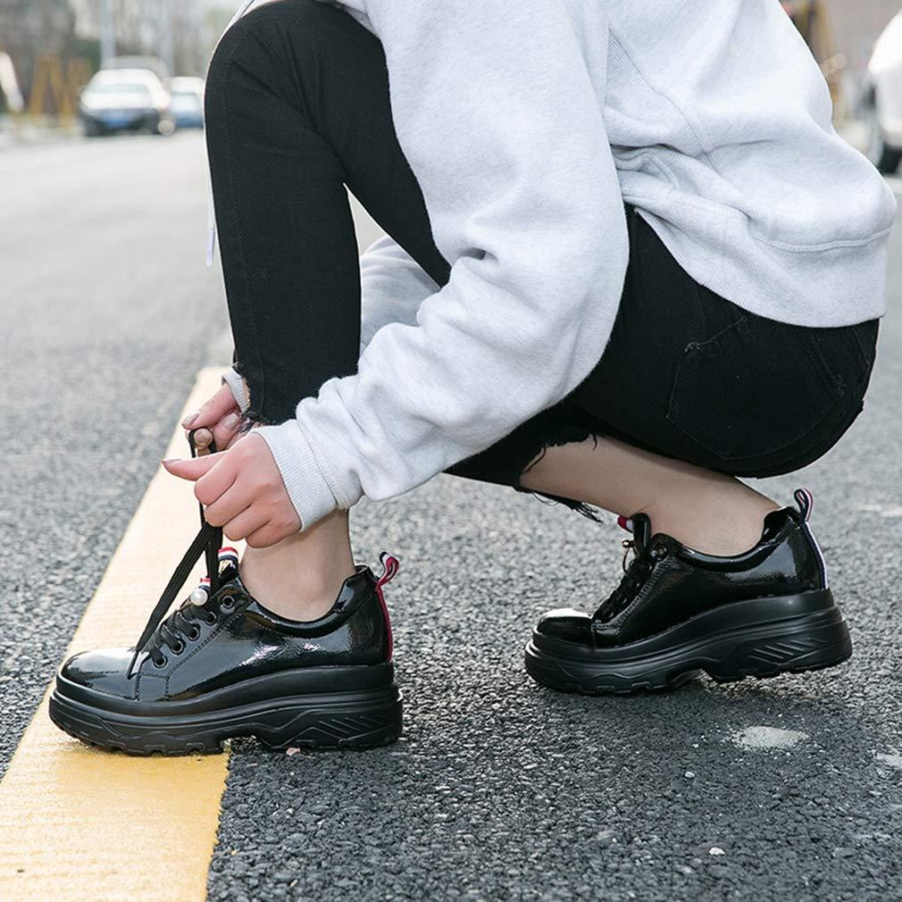 YAN Frauen Turnschuhe Ledersportschuhe Low-top Low-top Low-top Casual schuhe Rutschfeste Athletic Schuhe Trainings-Schuhe Weiß schwarz schwarz 39 9a74dd