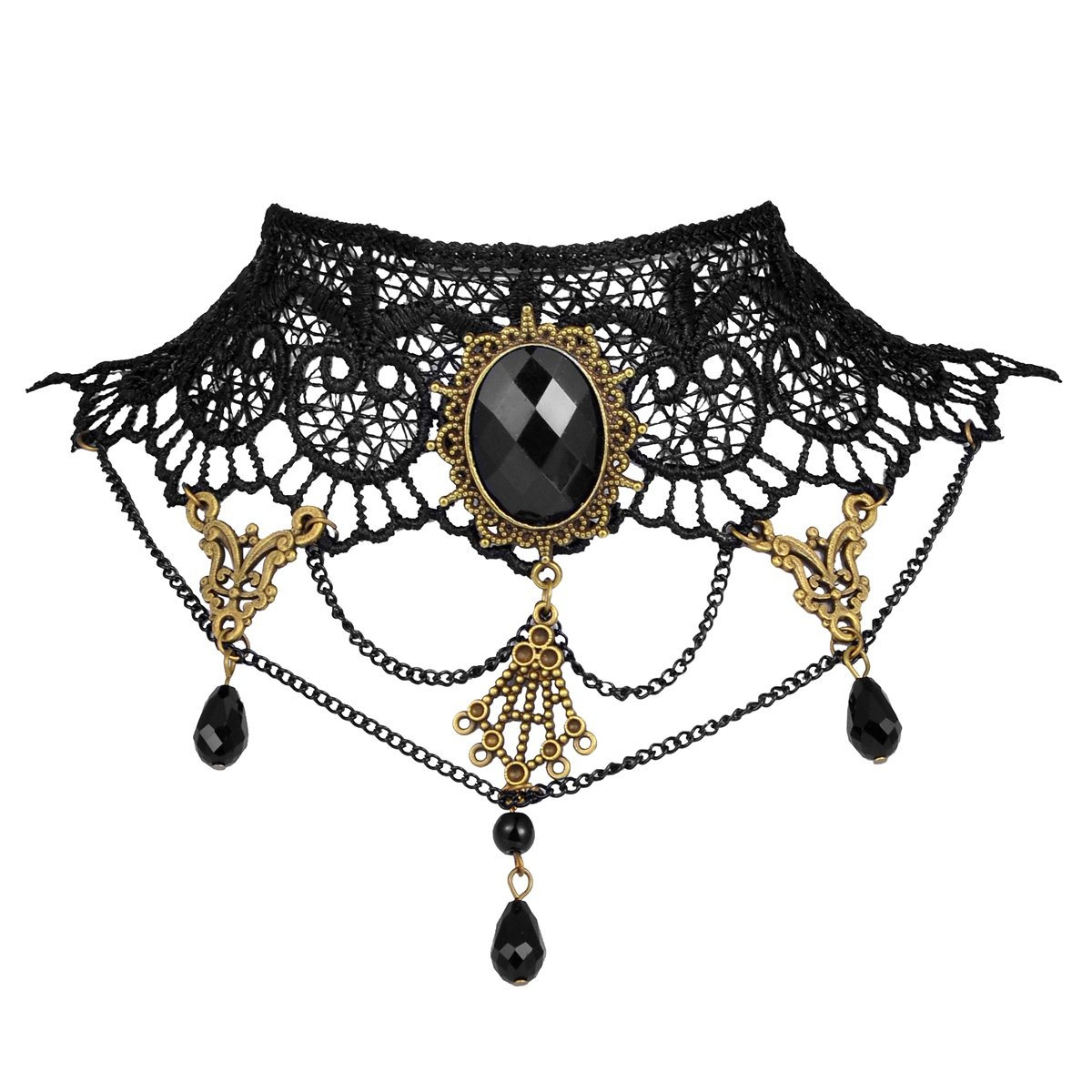 HOUSWEETY Fashion Retro Black Lace Fabric Gothic Collar Choker Necklace Beads Tassels Pendant HOUSWEETYUP00767