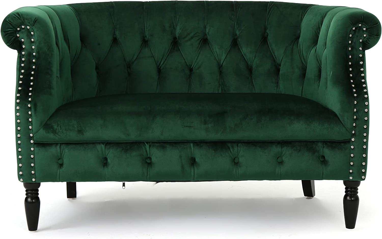 Amazon Com Melaina Tufted Chesterfield Velvet Loveseat With Scrolled Arms Emerald And Dark Brown Furniture Decor