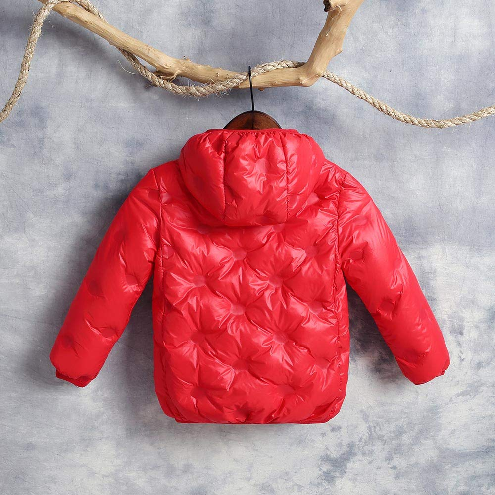 Kids Solid Hoodie Jacket Thick Zipper Warm Outerwear Clothes 6M-7T XILALU Toddler Baby Girls Boys Winter Down Coat