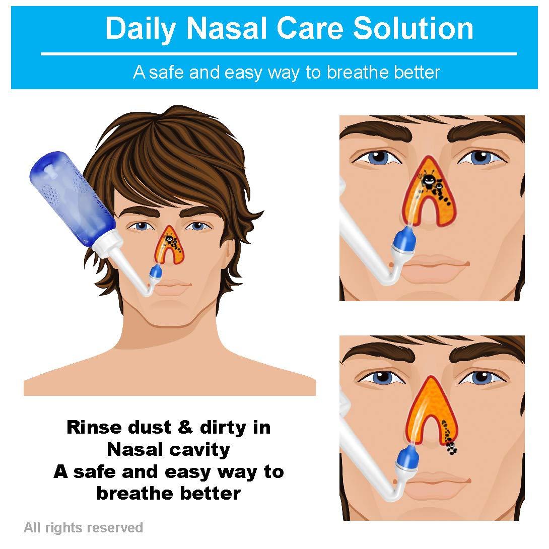 80x Nasensp/ülsalz 2x Nasensprayer effektiven Nasenreinigung Neti Pot zum Sp/ülen der Nase,Neti Pot Sinus Sp/ülung mit 80 Nasensp/ülsalz Nasendusche mit Salz TONELIFE Nasendusche Set 300ml