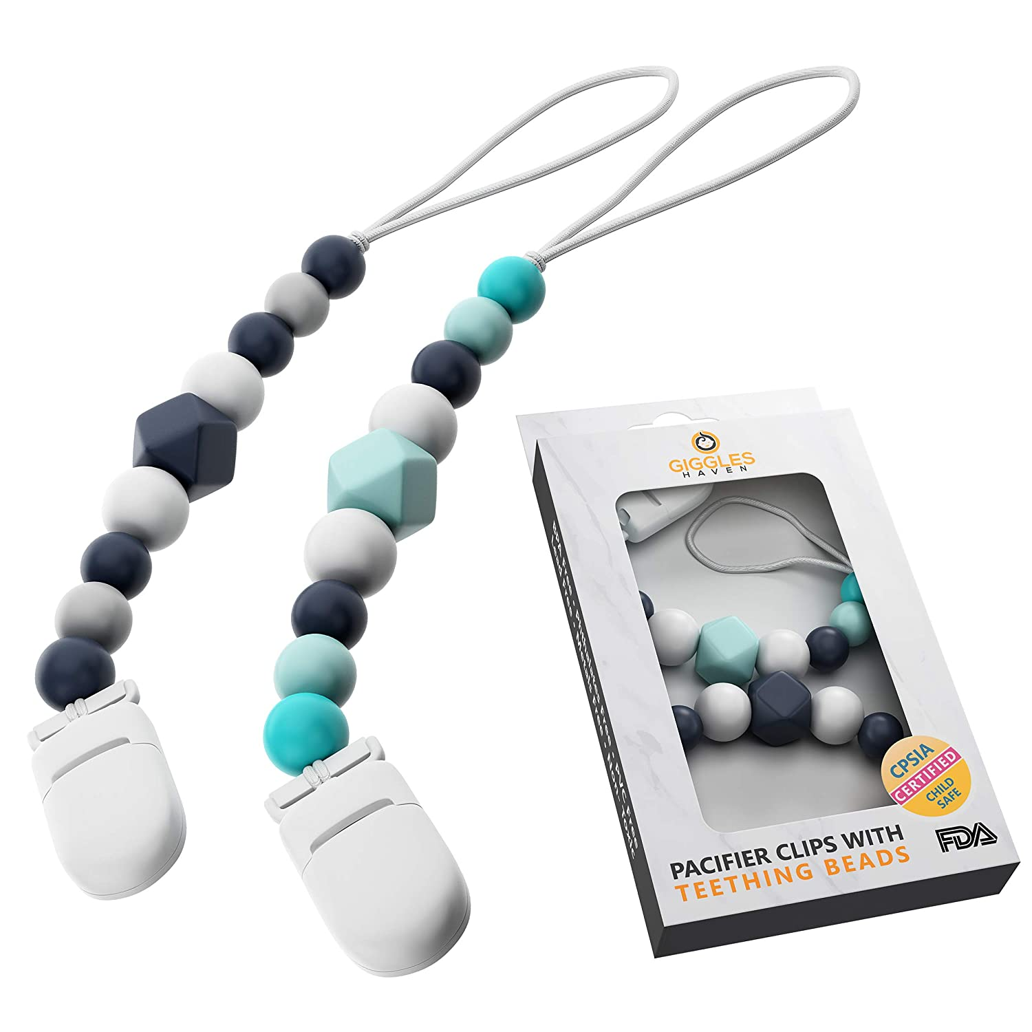 Perfect Baby Shower Gifts for Boy or Girl BPA-Free Silicone Beaded Teethers Pacifier Clip Set 2-Pack for Teething Relief Pacifier Holder Clips for Newborn Babies and Toddlers