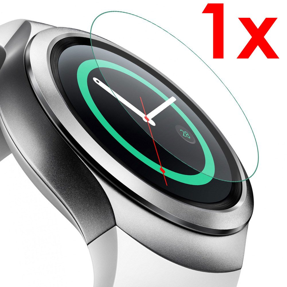 GEAR S2 - set 1x - Protector Pantalla de vidrio templado HD para smartwatch SAMSUNG GEAR S2 Wi-Fi 4G LTE Sim - dureza 9H bisel 2,5D - KIT DE LIMPIEZA ...