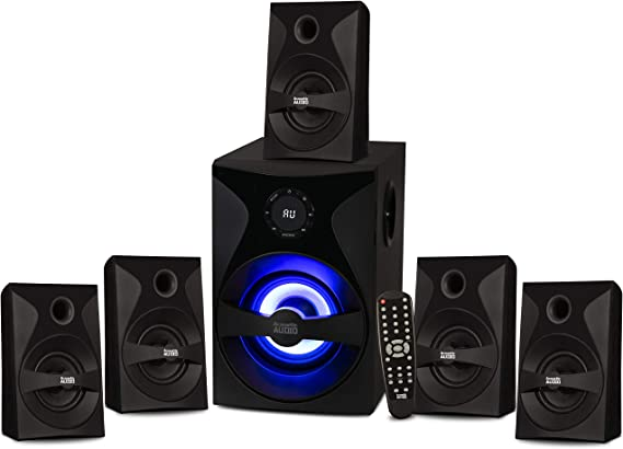 Acoustic Audio by Goldwood AA5400 Bluetooth 5.1 Speaker System with Sub Light and FM Home Theater 6 Speaker Set