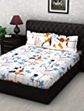 Story@Home Leaf 186 TC 100% Cotton Mercerized Double Bedsheet with 2 Pillow Covers, Yellow and White