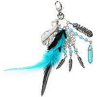 Mehrunnisa Bohemian Feather Yin Yang Dream Catcher Good Luck Keychain (Blue + Evil Eye)