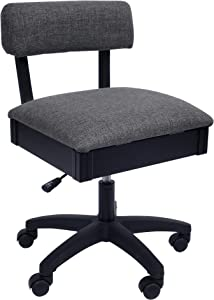 Arrow H8123 Adjustable Height Hydraulic Sewing and Craft Chair with Under Seat Storage and Solid Fabric, Lady Gray Fabric