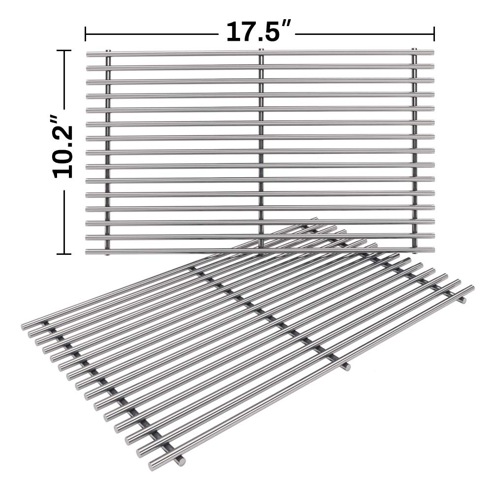 SHINESTAR 7637-17.5 x 10.2 inch Grates Replacement for Weber Spirit 200 E210 Grill Grates(with Front Control Panel), Stainless Steel Cooking Grates for Spirit 210 E-210 Parts (Set of 2, SS-KW637BN) by SHINESTAR