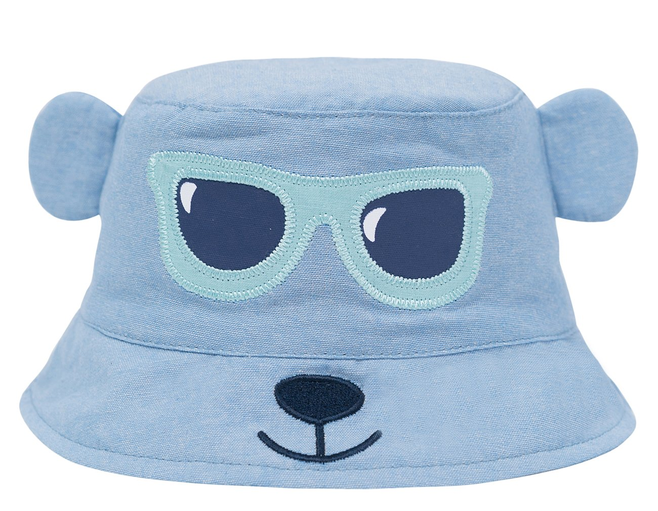 Eriso Baby Toddler Kids Breathable Sun Hat Animal Bucket, Stay-On ((20.5'') 2-4 Years, Blue Bear)