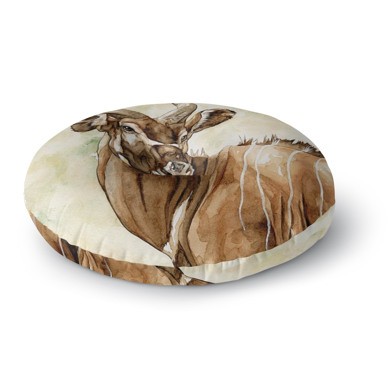 KESS InHouse Wildlife Africa 1'' Brown Animals Round Floor Pillow, 26''