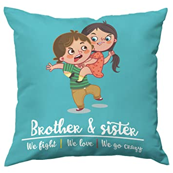 Paper Plane Design Rakhi Brother Sister Printed Cushion Cover With Filler 12x12 Inch Pillow Covers Fillers Single Takiya In Square Shape Gift For