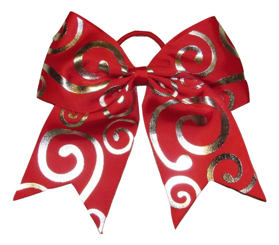 new silver swirl red cheer bow pony tail 3 ribbon girls hair bows