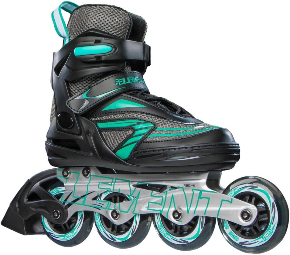5th Element Stella Recreational Inline Skates, Black and Green, Skate Bag Included
