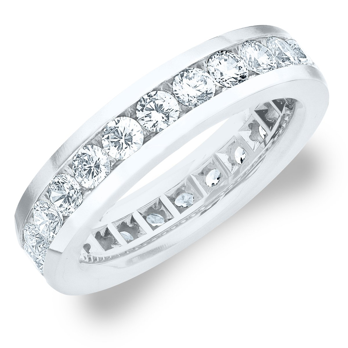 3.0 CT Men's Diamond Eternity Ring in 18K White Gold, Handsome Mens Wedding Ring (G-H Color / SI Clarity) Size 8.5 by Eternity Wedding Bands LLC