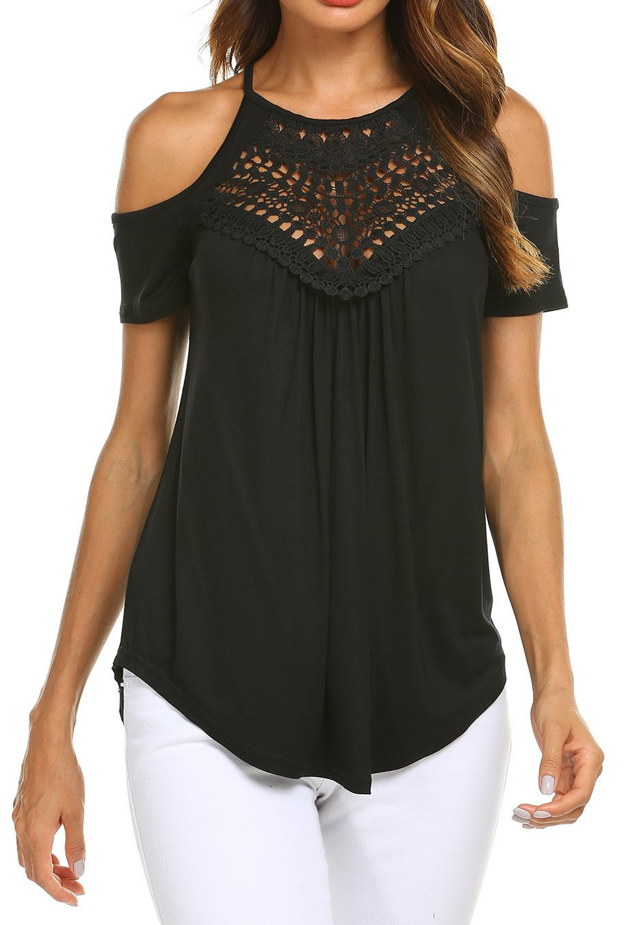 Womens Sexy Summer Lace Flare Hem Tunic Strappy Blouses Tops for Ladies Black M