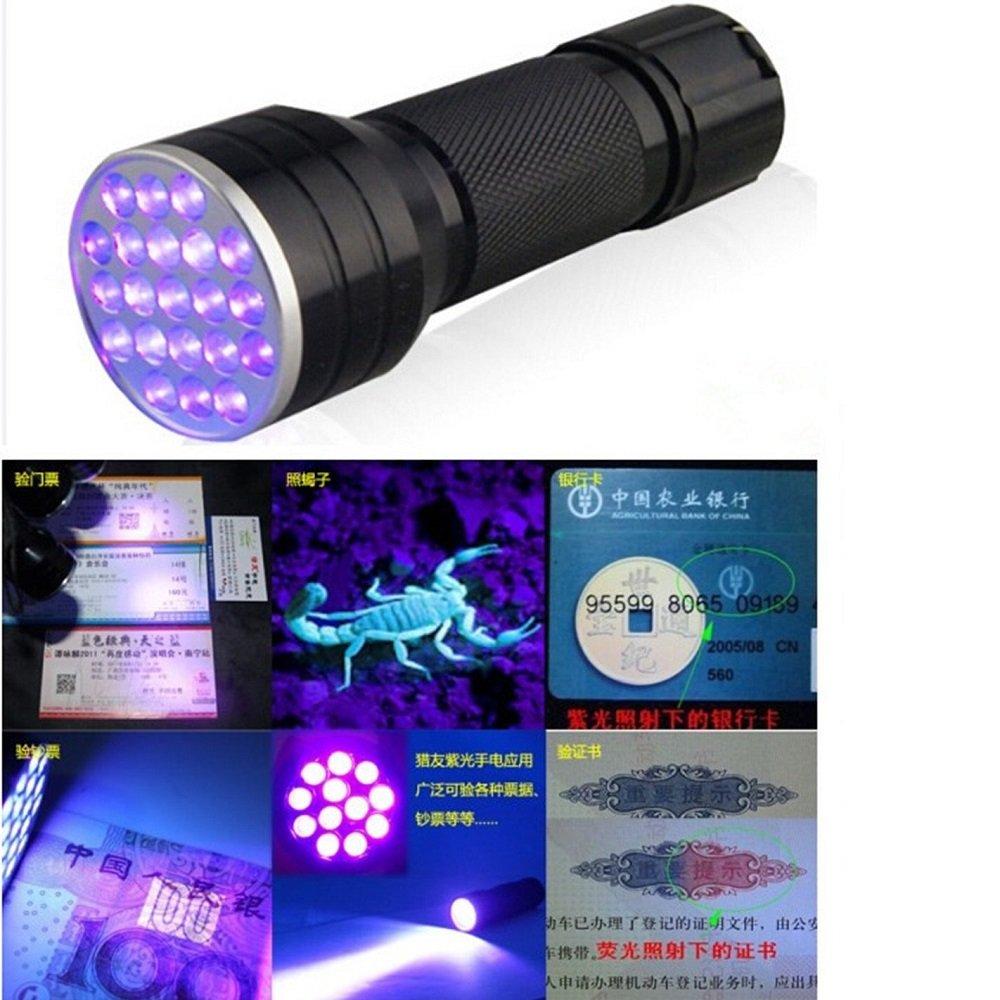 Fronnor 21 LED Flashlight UV Light Portable Ultraviolet Blacklight Handheld Torch Light Urine,Stain Detector MT-D12UV-1-0-1