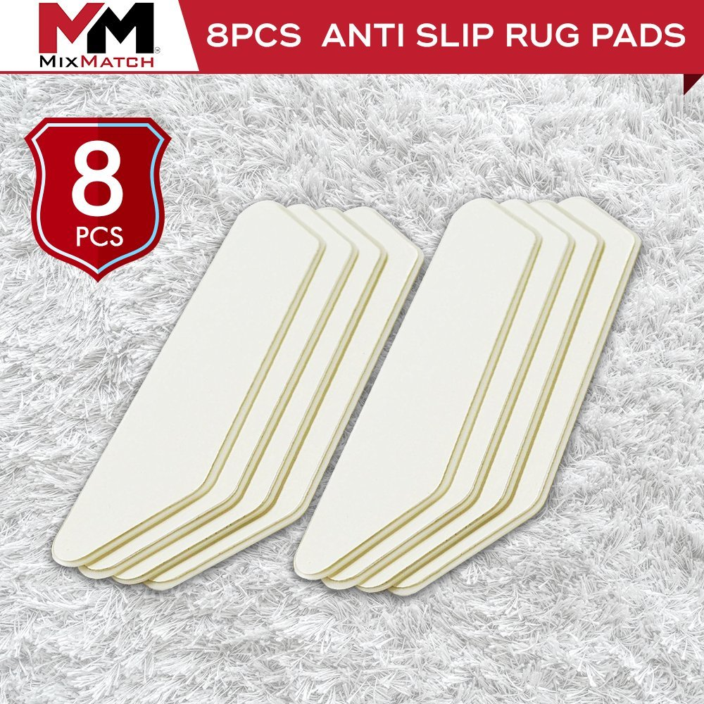 MixMatch Rug/Carpet Gripper-Holder Pads - Anti Curling Non Slip Carpet Anchors (8) - Super Sticky Reusable Rug Holders Placers Perfect for Wood, Tile & Laminate Floor Anti Slip, Rug to Rug/Carpet