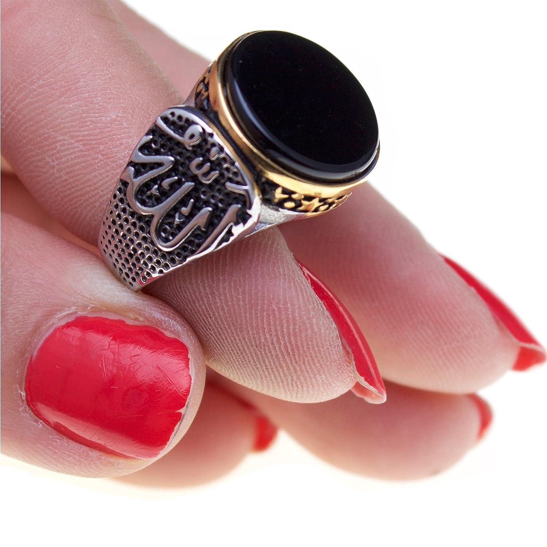 Amazon.com: Silver Pt Islamic Arabic Allah Mohammad Black Agate Ring ...