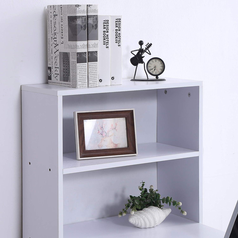 HOMCOM Scrivania Computer con Libreria Salvaspazio Porta PC per Ufficio Studio Bianco 120x55x120cm