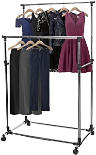 sorbus adjustable double rail rolling garment rack with brake wheels